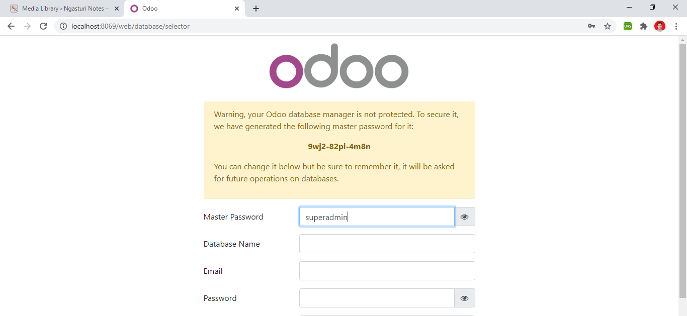 Mengganti master password odoo