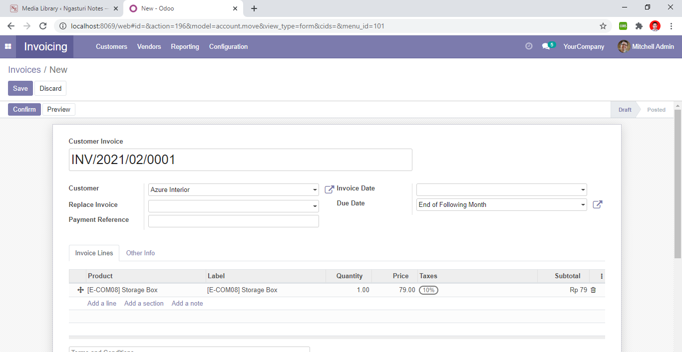 Tampilan menu Invoicing odoo
