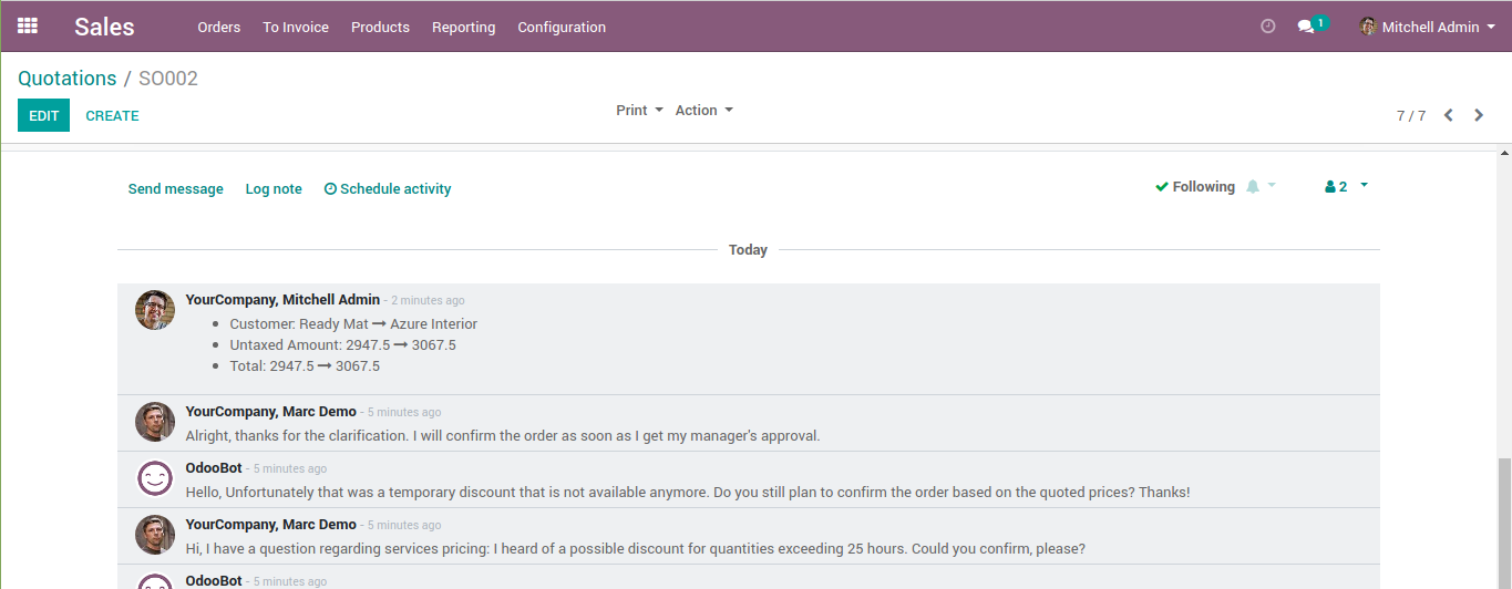 The view of the data changes history in the odoo sales menu