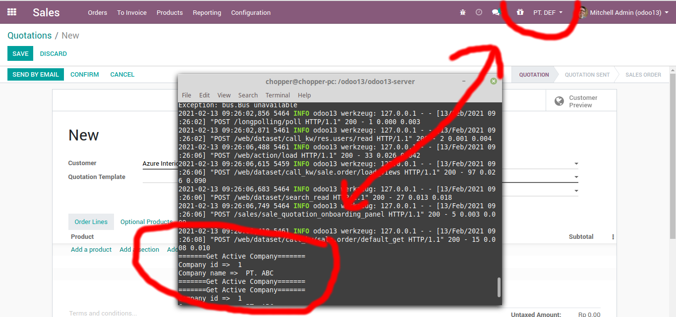 Failed to get the active company in odoo 13
