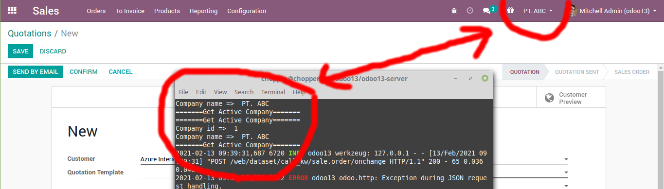 Get the active company in odoo 13