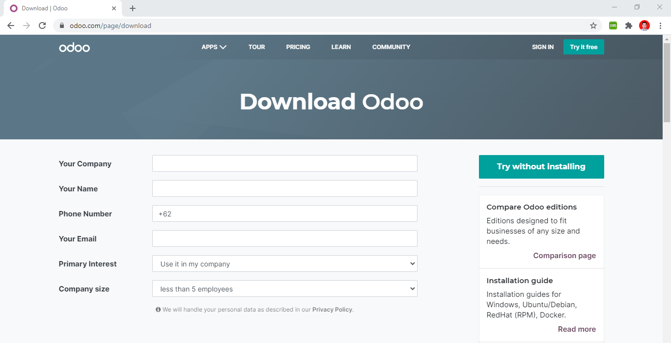 Halaman download odoo
