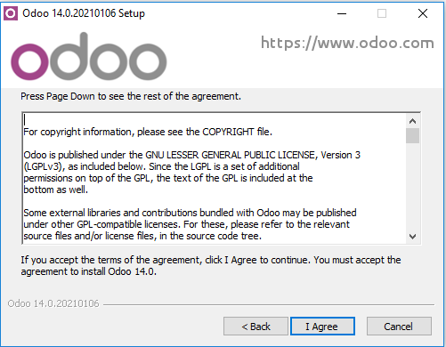 Halaman agreement odoo