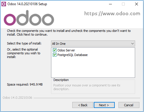 Selecting items to install on odoo