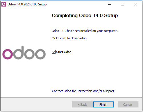 Installation of odoo is complete