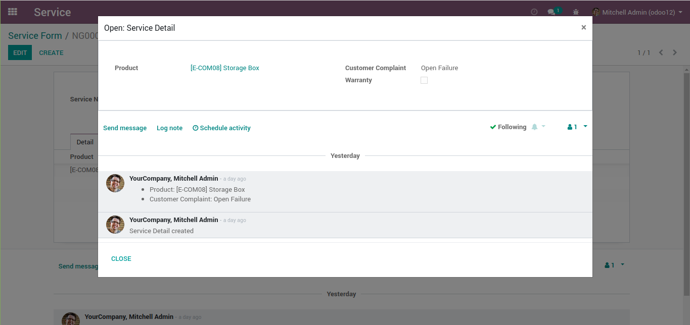 A chatter in odoo's modal with Log Note button