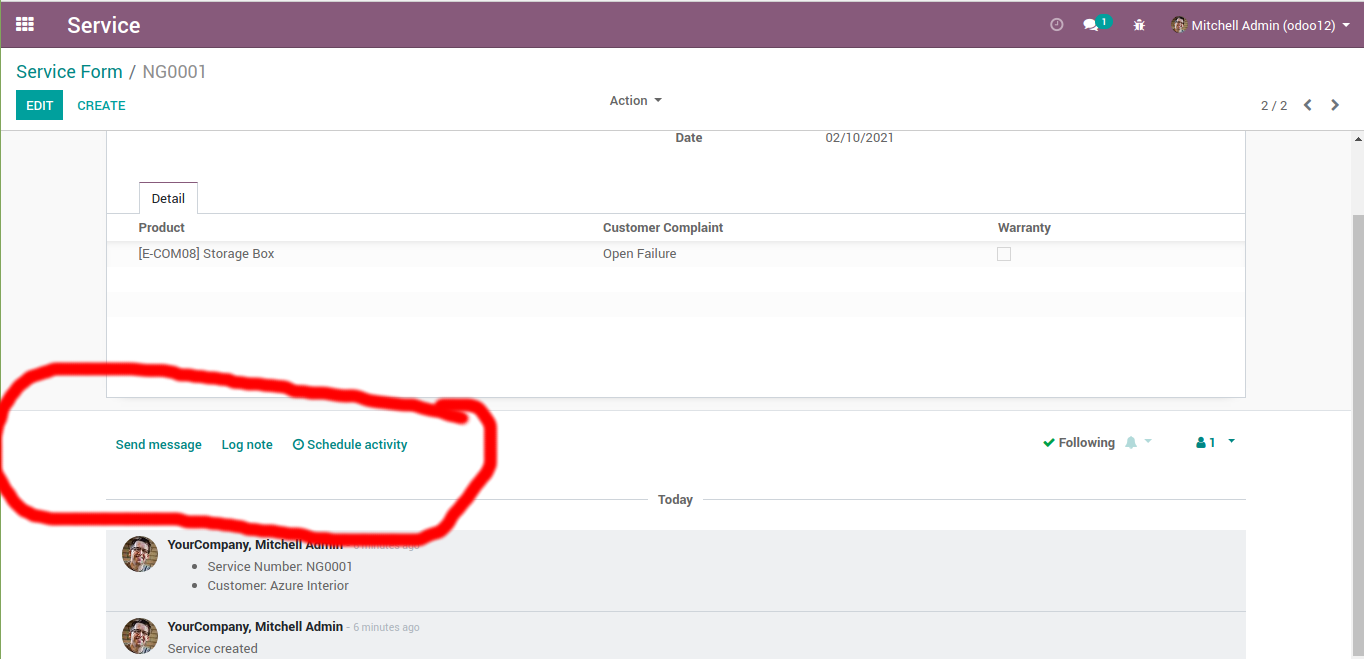 An odoo chatter with Log Note button