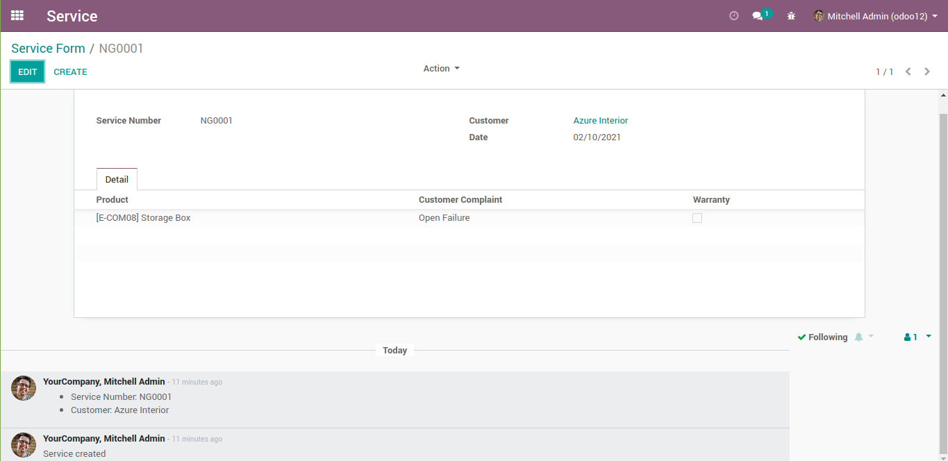 An odoo chatter without Log Note button