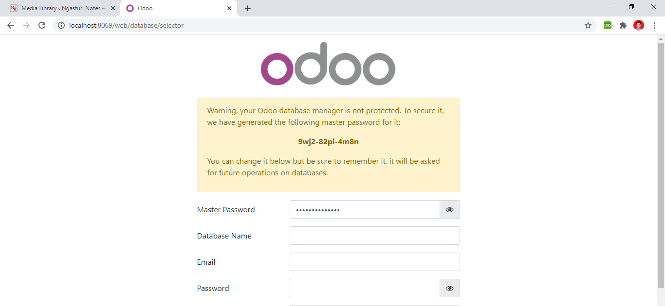 Odoo database selector page view