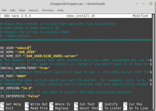 Mengubah isi file yhente install script