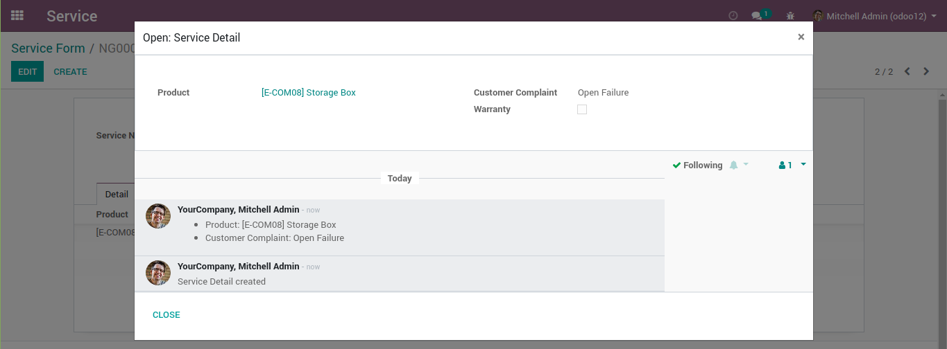 An odoo modal with chatter