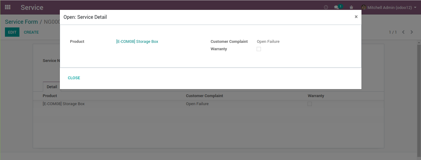 An odoo modal without chatter