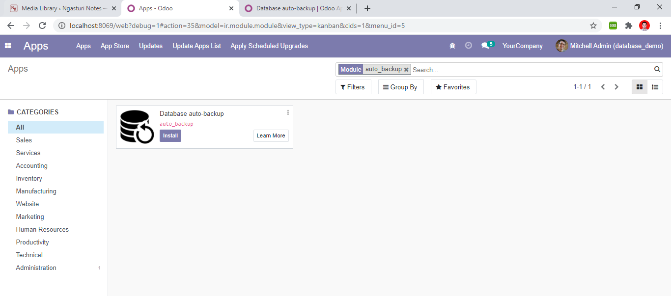 Search for applications in the odoo Apps menu