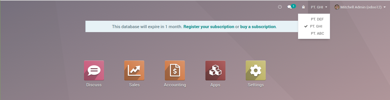 Switch the active company in odoo 12