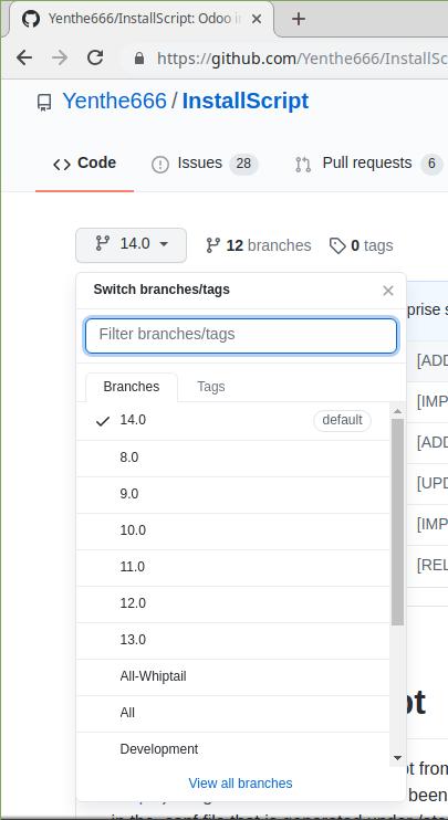Memilih branch di yhente install script