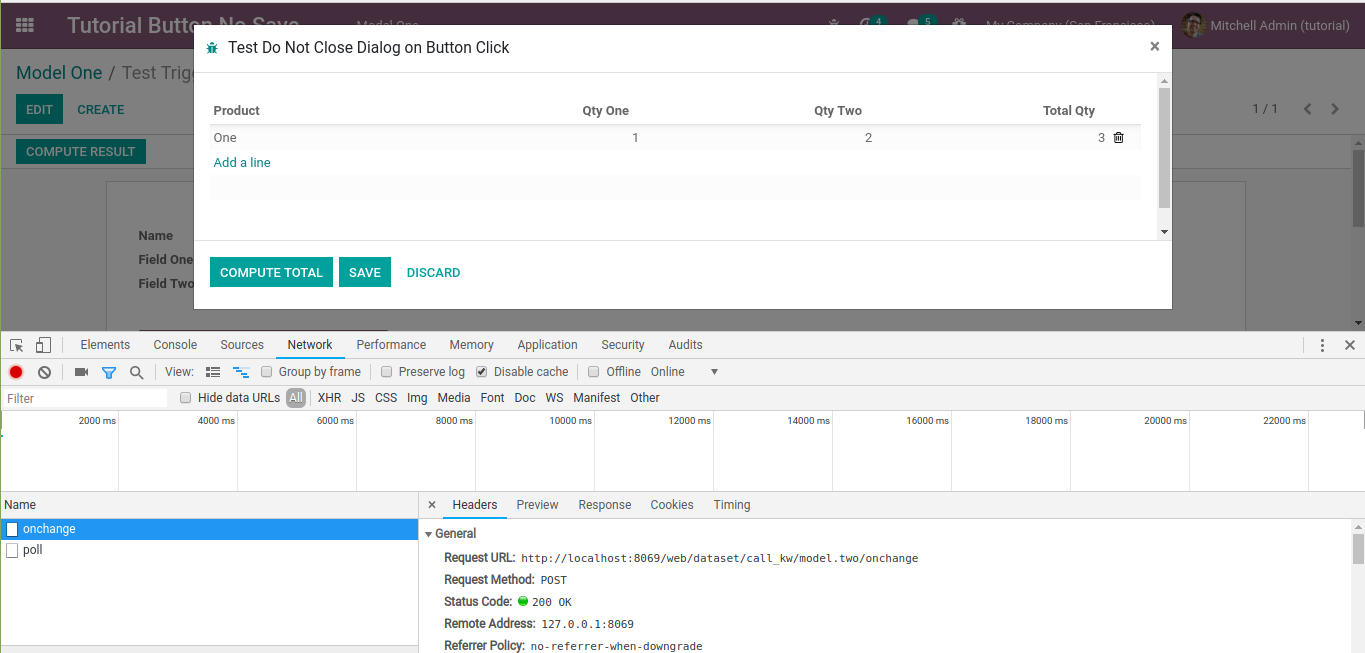 Odoo button trigger onchange function in modal