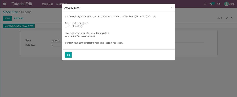 Odoo display an error message because ir.rule