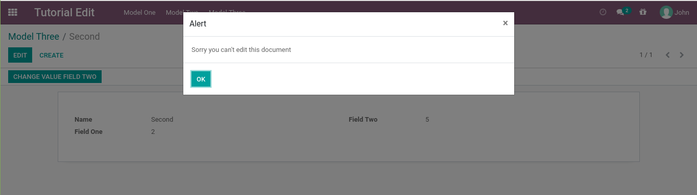Odoo display an error message when click the edit button