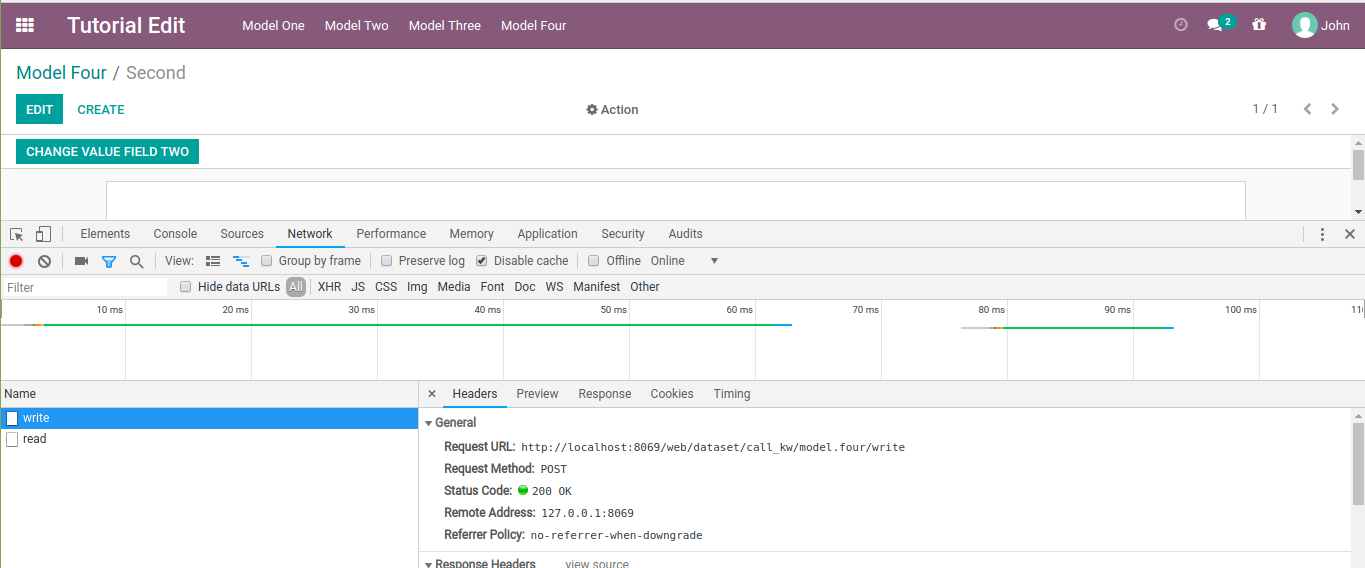 Odoo controller when editting a document